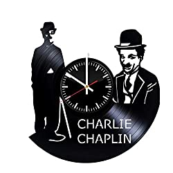 Charlie Chaplin Wall Clock Charlie Chaplin Vinyl Record Wall Clock Charlie Chaplin Handmade Home Decor Charlie Chaplin Wall Art