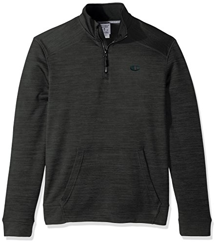 Champion Men's Premium Performance Fleece Quarter-Zip Pullover, Forest Grove Heather/Black, Small