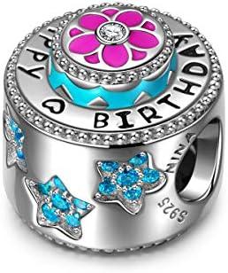 NINAQUEEN® Bead Charm Buon Compleanno Argento Sterling 925, Smalto Squisita, con Confezione Regalo