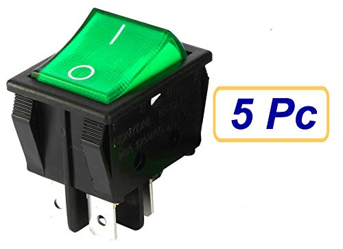 SUKRAGRAHA KCD4 DPST ON-Off 4 Pin Rocker Boat Switch Indicator 16A/20A AC 250V/125V for Car Motorcycle Green 5 pc