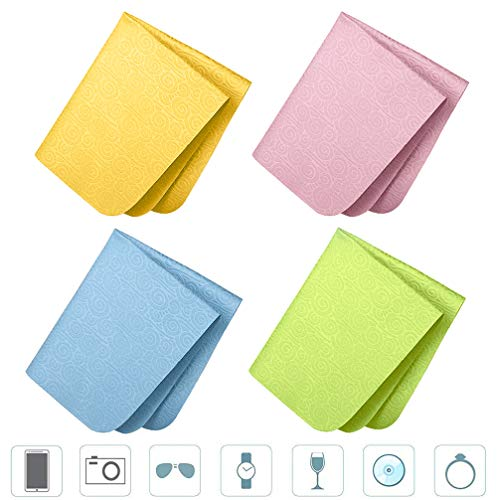 [4 Pack] Premium PVA Chamois Cleaning Cloth Embossing, YWXTW Lint Free Reusable Washable Cleaning Cloth for Phones, Eyeglasses, Camera, Tablets, Watch, LCD, Jewelry, Leather, Wine Glasses (Colorful) (Clearlens)