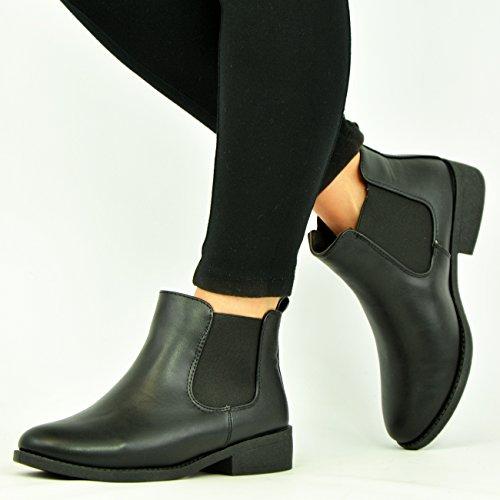 Cucu Fashion - Botas Chelsea mujer 5. Black Pu Chelsea