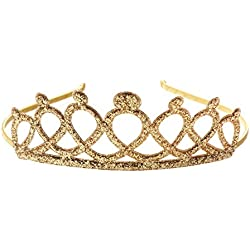 "Anna Belen Girls ""Kate"" Glitter Crown Headband O/S Gold"