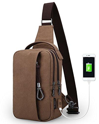 Sack Sling (Muzee Sling Bag for Men Chest Shoulder with USB Charging Port Gym Backpack Sack Satchel Outdoor Crossbody Pack (coffee(new)))