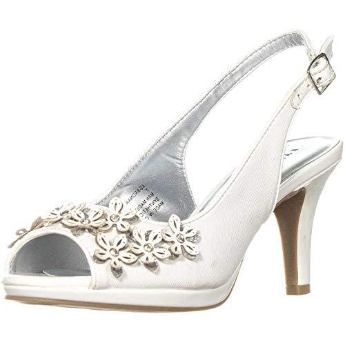 (Karen Scott Womens Bronaa Peep Toe Slingback Classic Pumps, White, Size 7.0)