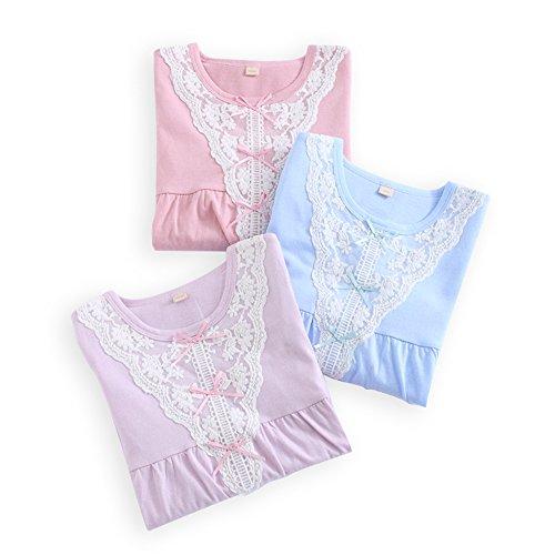 HOYMN Camisón Niños Niña 2-12ans Chica Manga Larga Verano Pijamas en Algodón Estampado Encaje 3 Colors: Amazon.es: Ropa y accesorios
