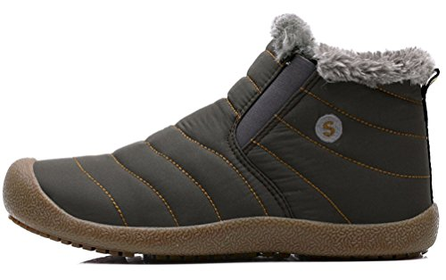 Fur Outdoor Waterproof Ankle Boots Lined Khaki Warm Winter Shoes Snow Boots Men's Santimon vTRwq0n