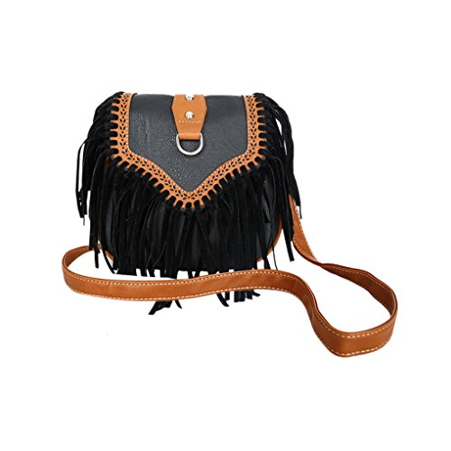 Vintage Style Crossbody Bags Fringe Tassel PU Leather Cross Body Bags Clutch Shoulde Bags for Women Ladies Girls Black