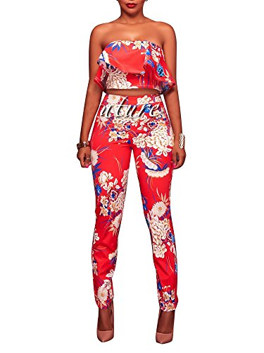 Women's Floral Print Sleeveless Strapless Top Casual Bodycon Stretch High Waist Long Pants 2 Pieces Jumpsuit Red -