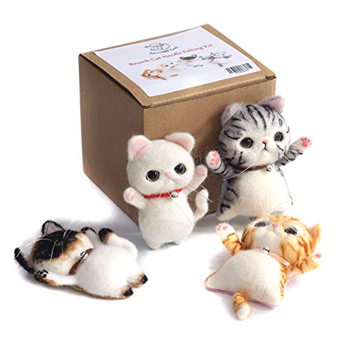 Artec360 Cat Needle Felting Kit with Brooch Decoration with Video Tutorial for Beginner Gift Box Package (4 Pack)