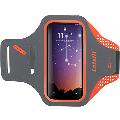 Letsfit Running Armband, Water Resistant Cell Phone Armband for Smart phone 11 Pro XR XS MAX 8+ 7+ 6s+ with Key Slot, Headphone Slot and Face ID for Running, Walking, Hiking, Orange