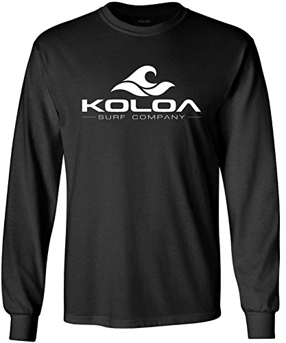 Koloa Surf. Wave Logo Long Sleeve Heavy Cotton Crew Neck T-Shirt 4XL,Black/w ()
