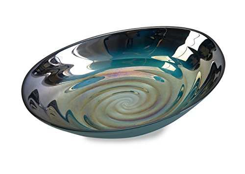 Imax 83101 Moody Swirl Glass Bowl with Glossy Finish in Ocean Colors - Food Safe Dishware - Easy to Clean Home Décor Decorative Bowl. Diningware, Serving Bowls, (Photo Holding Ball)