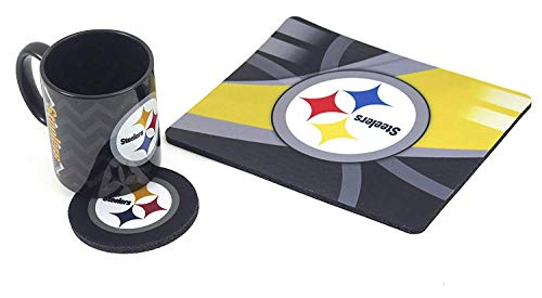 Pittsbrsgh Steelers, includes mouse pad, and Large ceramic coffee mug 11 oz and Matching Fabric Coster, 3 Piece - Steelers 11 Mug Pittsburgh Oz