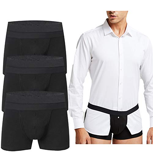 TELALEO Men's Upgrade Shirt Stays Underwear Non-slip Adjustable Elastic Cotton Boxer Brief shirt holders for men-NK-3Black-S