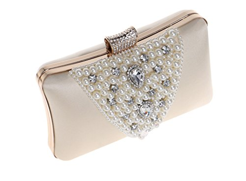 Clutch Bag Handbag Bag Purse Faux Bag Colors Bridal Gift Wedding Shoulder Pearl Prom for Removable Beaded Strap with Ladies 6 Evening Purple Party vxnwdPq0vC