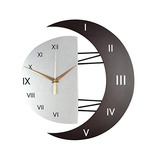 Dadahuam Pendule Murale Silencieuse Créatif Moon Shaped Frame Horloge Murale en Quartz, Modern Horloge Pendule Wall…