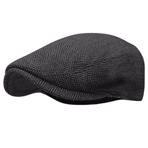 Herringbone Ivy Hat Wool Stripe Gatsby Cap Golf Driving Flat Cabbie Newsboy
