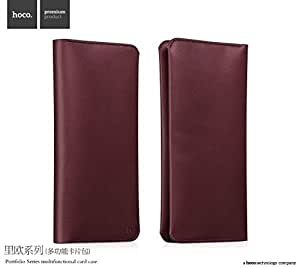 Premium Soft Leather Wallet Purse, Portfolio Series Multifunctional Card Case Hand Bag For Cellphone - Wine Red