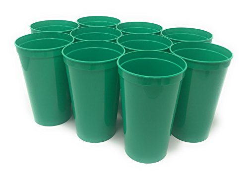 CSBD 10 Pack Blank 22 oz Plastic Stadium Cups Bulk - Made In USA, Reusable or Disposable, Great For Customization, Monograms, Marketing, DIY Projects, Weddings, Parties, Events (10, Green) ()