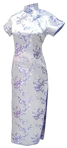 (7Fairy Sexy Women's lilac Floral Long Chinese Evening Dress Cheongsam Size 18 US)