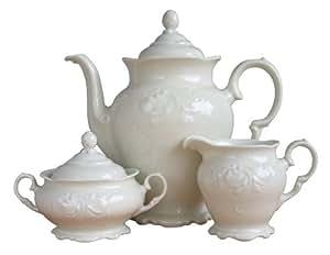 Creatable 13451 7 Frederike - Juego de café (se incluyen tetera, azucarero y jarrita para la leche, porcelana)