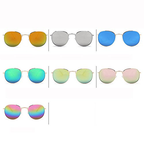 Blinding F Reflective Big De Metal De Gafas Mujer Sol GUOHONGCX Gafas D Trend Glasses Marine Hombre Sol Y Rana Espejo Casual Cycling Round Frame Colorful gxZwPv