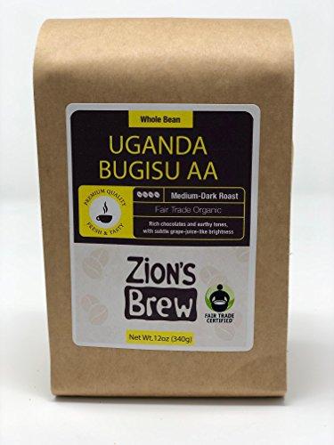Zion's Brew Premium Gourmet Fresh Roasted Whole Bean Coffee - 12 Ounces (Uganda Bugisu AA)
