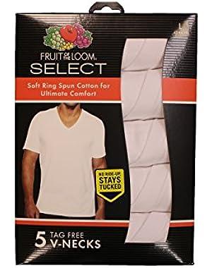 Select Men's 5-Pack White V-Neck T-Shirts TG2525V