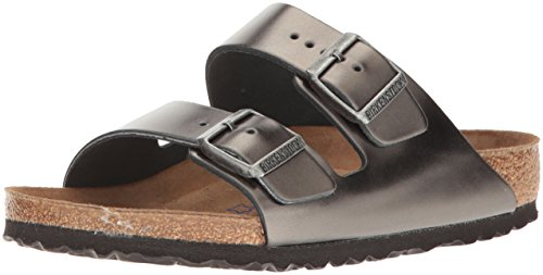 Sandals Birkenstock Arizona Leather (Birkenstock Unisex Arizona Metallic Anthracite Leather Sandals - 39 M EU / 8-8.5 B(M) US)