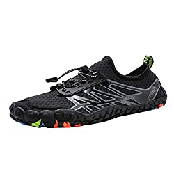 Tifenny Unisex Quick Dry Water Shoes Pool Beach Swim Drawstring Shoes Creek Diving Shoes Lightweight Upstream Shoes Black
