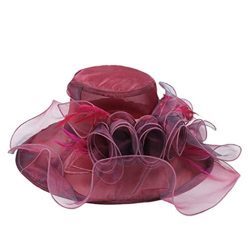 Women Headress  Ladies Organza Tea Party Wedding Hat Elegant Cap Evening Beach Sunhat (Wine Red) -