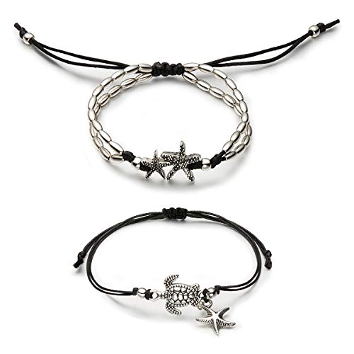 Geerier Vintage Starfish Turtle Anklet Retro Silver Handmade Sea Animal Ankle Bracelet Beach Foot Chain Jewelry For Women 2pcs Pack (Retro Ankle Bracelet)
