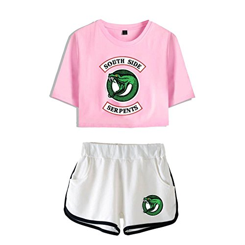 Expuestos Pantalones Traje La Southside shirt T Riverdale Ombligo Shorts T De Camiseta shirts 8 Serpents And Top Set Crop Cortos f6xxvPq
