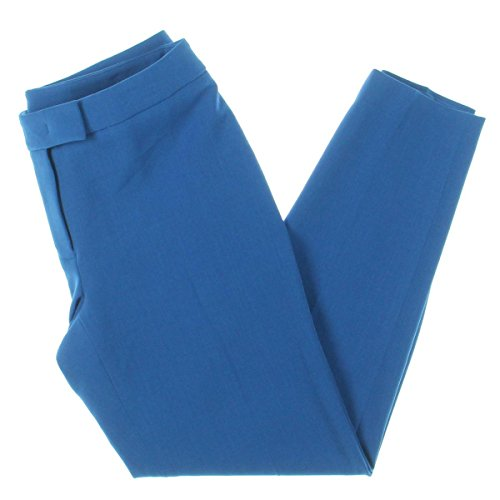 Anne Klein Womens Flat Front Slim Fit Trouser Pants Blue ()
