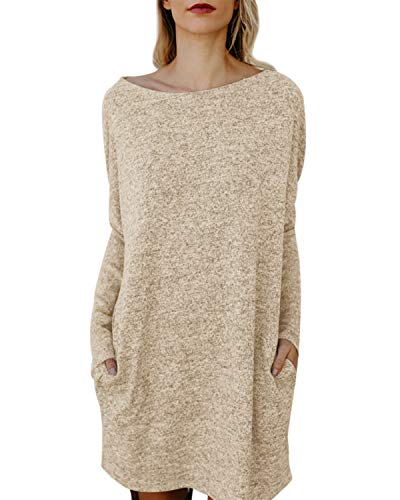 Kidsform Women's Long Sleeve Tunic Dress Oversized Plus Size Shirt Dress Baggy Pockets Short Jumper Dresses Khaki S ()