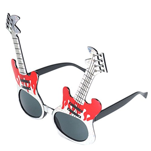 Fancy Party Sunglasses Costumes Cosplay Photo Booth Eyewear Props, Rock Guitar Glasses -
