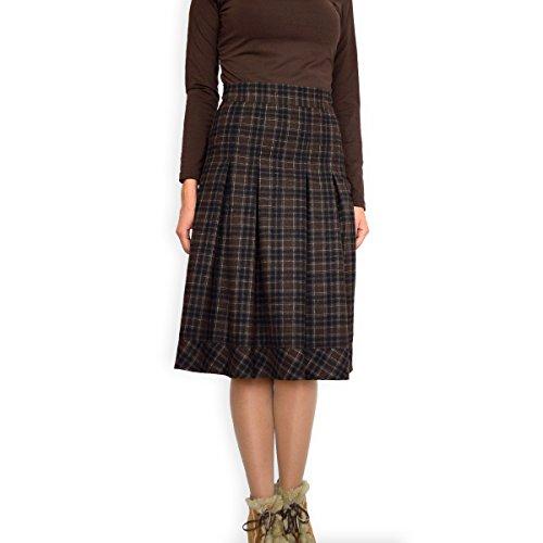 Lässiger Warme Winter Wolle Wool Rock A Linie Braun Kariert Größe EU 36 38 40 42 44 46 48 50 QlCrmC