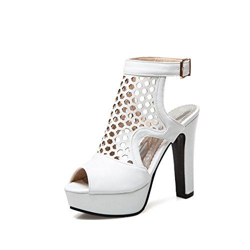 Zapatos de Mujer Sandalias 2018 Summer New Hollow Crudo Tacón de tacón Alto Plataforma Impermeable Fish Ojo Código de Gran tamaño 40-50 Sandalias de Mujer (Color : Blanco, tamaño : 37)