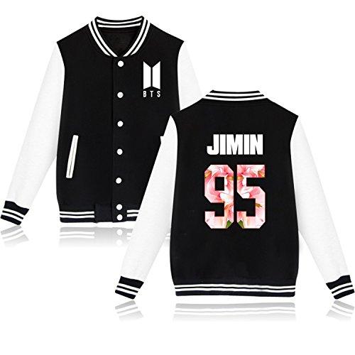 (KPOP BTS New Logo Jacket Bangtan Boys Unisex Baseball Jacket JIN SUGA JIMIN V M Jimin 95 Black)