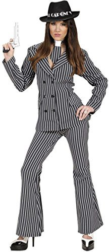 Ladies Gangster Woman - Costume Small UK 8-10 for 20s 30s Mob Capone Bugsy Fancy Dress by WIDMANN (30s Gangster Costume)