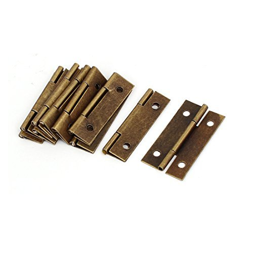 DealMux Jewelry Box Cabinet Drawer 37mm Length Metal Butt Hinges Bronze Tone 10PCS
