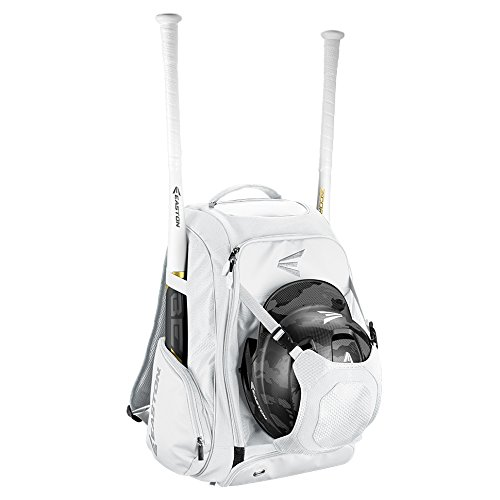 (EASTON WALK-OFF IV Bat & Equipment Backpack Bag | Baseball Softball | 2019 | White | 2 Bat Sleeves | Vented Shoe Pocket | External Helmet Holder | 2 Side Pockets | Valuables Pocket | Fence Hook)