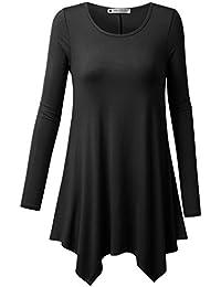 URBANCLEO Womens Handkerchief Hem Tunic Top Long T-shirt...