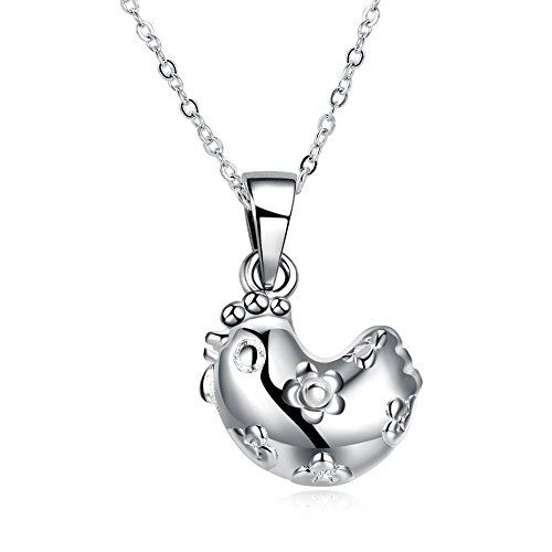 Zhiwen 925 Sterling Silver Chinese Zodiac Amulet Pendant Necklace Various Animals, Men and Women Charm Necklace Gifts (Chicken)