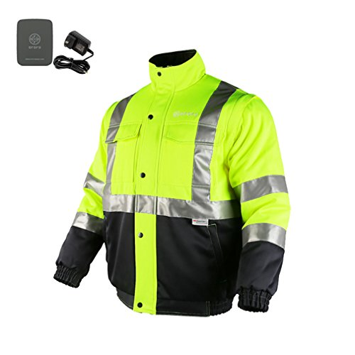 ororo Men's Heated Jacket ANSI/Isea Class 2 High Visibility Safety Bomber Jacket With Battery Pack(XL) by ororo