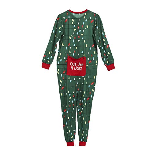Family Matching Christmas Pajamas Set Adult Kids Lights Romper Funny Dropseat Onesie Sleepwear (Men, -