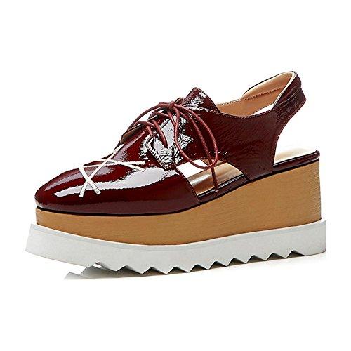 KJJDE Zapatos con Plataforma Mujeres WSXY-L0404 Proceso de Bordado Pentagram Sandalias Mujer Zapatilla Chanclas de Moda Confort Peep Toe Tacón Zapatos Para Caminar Wine