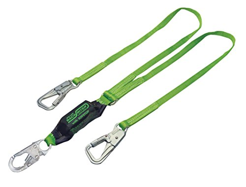 Snap Hooks Locking 2 - Honeywell 8798B/6FTGN Miller Two Leg Backbiter Lanyard with SofStop Shock Absorber with 1 Locking Snap Hook and 2 Miller 5K Locking Snap Hooks, 6', Green