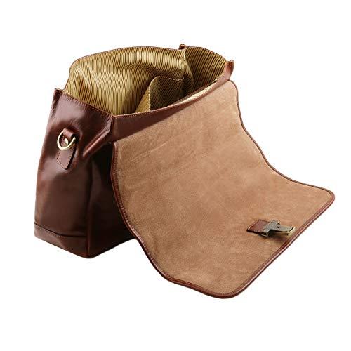 Cartella Mantova marrone Testa Di Pelle In Multiscomparto Con Tuscany Moro Smart Tl141450 Pattella Leather Tl ER141q